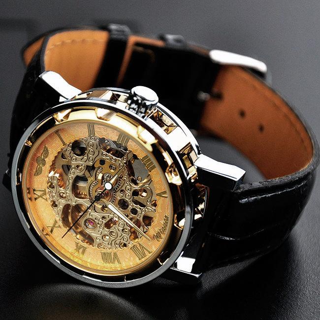 5353f8fd Часы Skeleton Winner (Виннер) серебряный корпус, золотой циферблат - купить  в СПБ